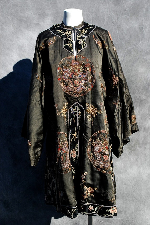 ON HOLD Antique Chinese dragon robe forbidden stitch silk imperial Qing dynasty stunning by thekaliman