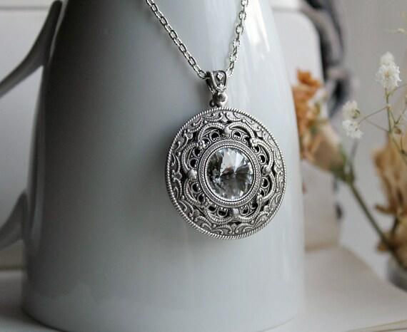 Apothecary Aged Silver and Swarovski Necklace - Silver - White - Steampunk - Gothic - Fantasy - Magic - Unique - Valentines Day - Bridal