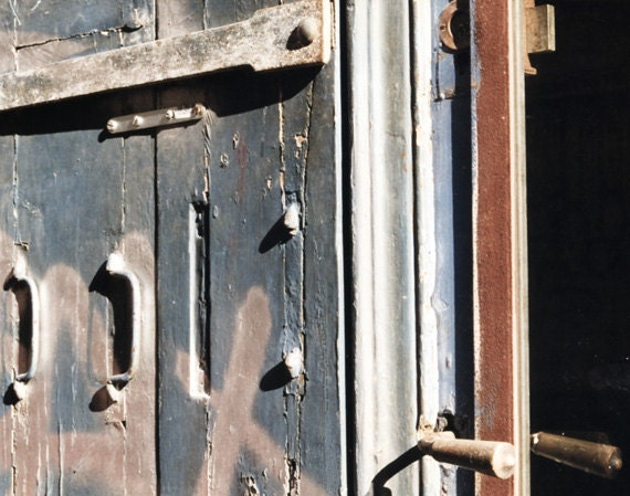 silver doors photography, 8x10 print, strap hinge graffiti architecture photography, blue gray, old doors decor industrial, french doors art