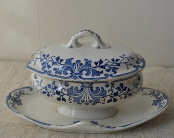 Antique French Country Serving Dish for Sauces, Soaps or Trinkets