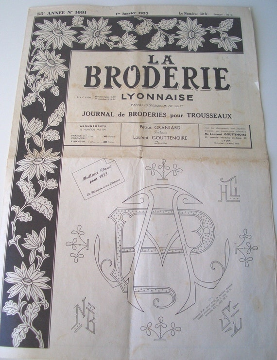 La Broderie Lyonnaise - 1953 Embroidery Journal