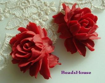 34-02-Tru-CA  12pcs Cabbage Rose Cabochon - True Red