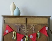 Red Fabric banner with Yo-Yos and Ribbons  Bunting, Fabric Banner, Flags, Party Pennants, Reusable Party Decorations by InYourBones