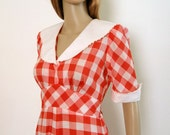 1960s Maxi Dress Vintage Red White Checkerboard Plaid Country Girl Dress / S to M