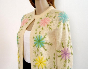 Vintage 1960s Sweater Cream Floral Pastel Embroidered Cardigan / Extra Small to S