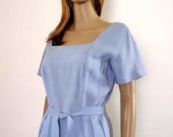 1960s Dusk Blue Dress Vintage Square Neck Beaded Skirt Dress / SM