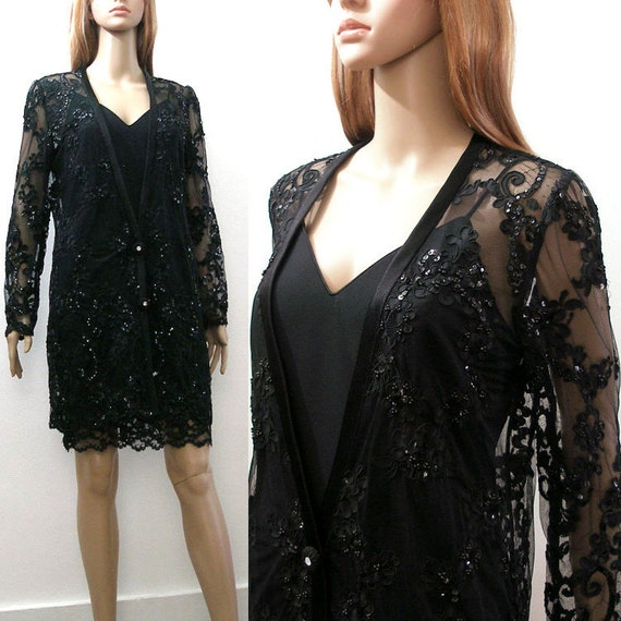 1980s Beaded Mini Dress Vintage 80s Black Slip Dress / Sheer Beaded Lace Coat / Small
