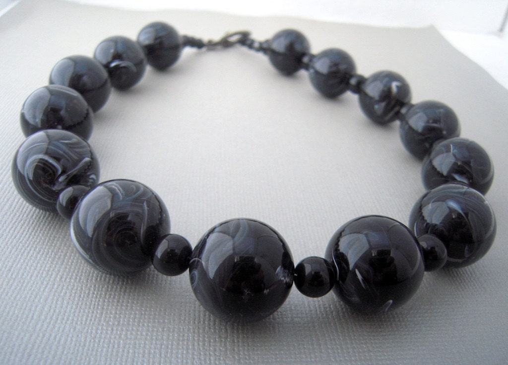 black beaded necklace big bold chunky necklace by