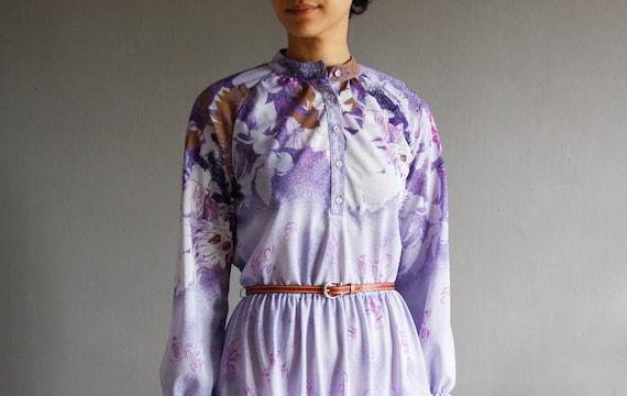 1970's lavender garden dress m / l
