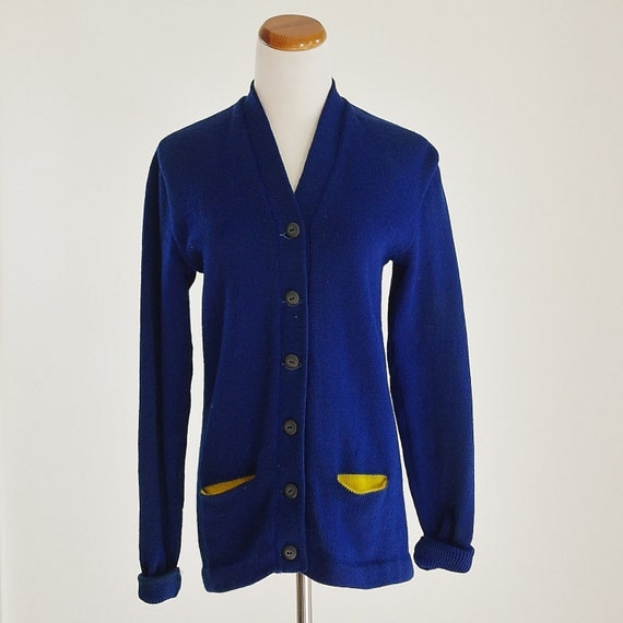 Vintage Wool Varsity Sweater -- 40s 50s Navy Blue & Yellow Gold Cardigan  --  High School Sweater Unisex