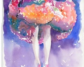 Dancer Print from Watercolour Fashion Illustration. Titled - summer dress