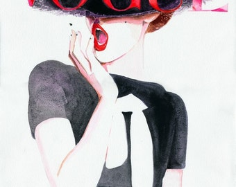 Vogue Fashion Print, Vogue Cover Art,  Giclee Print, Watercolour Fashion Illustration,  German Vogue Print, Watercolor Vogue Print