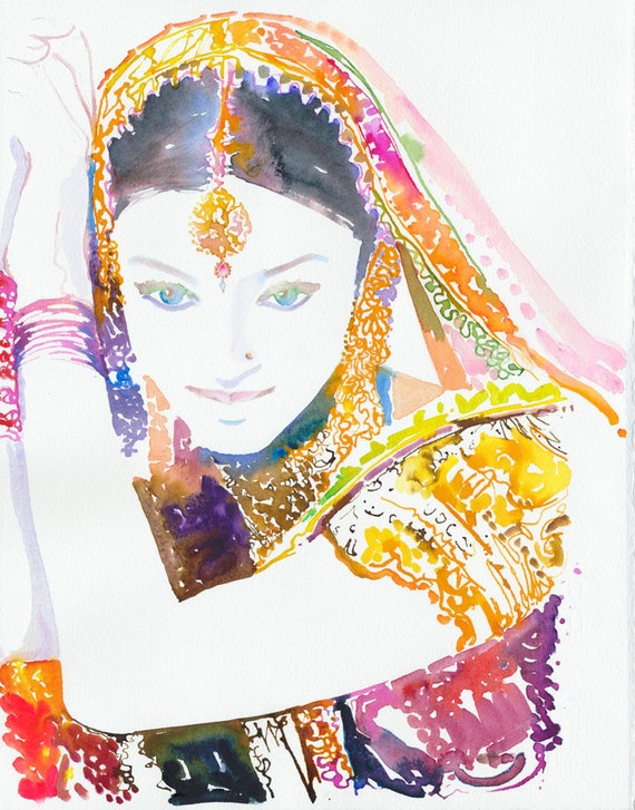 Original Watercolor Painting, Portrait Painting of Aishwarya, Indian Costume Illustration. Titled - Aishwarya