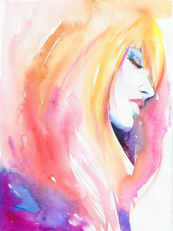Original Painting, Watercolor Fashion Illustration. Titled: Fuchsia