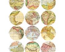 Digital World Maps, 2.5 inch Circles, Collage Sheet, Vintage Maps, Digital Round Printable Images