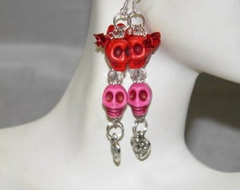 Day of the Dead Earrings, Sterling Silver with Pink and Red Skull Earrings, Dia de los Muertos, Day of the Dead Jewelry, Skull Jewelry