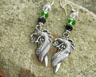 Game of Thrones Dragon Earrings, Dragon Jewelry, Sterling Silver and Pewter, Crystals, Steampunk Jewelry, LARP, Game of Thrones Jewelry