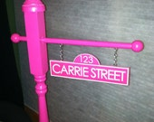 Personalized Sesame Street Inspired Birthday Party Street Sign in PINK
