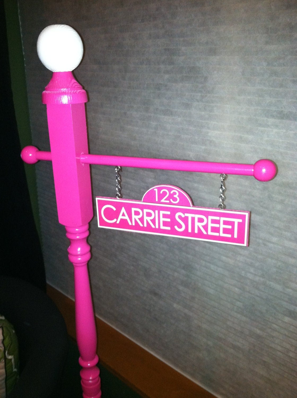 personalized sesame street sign in pink or purple. Black Bedroom Furniture Sets. Home Design Ideas