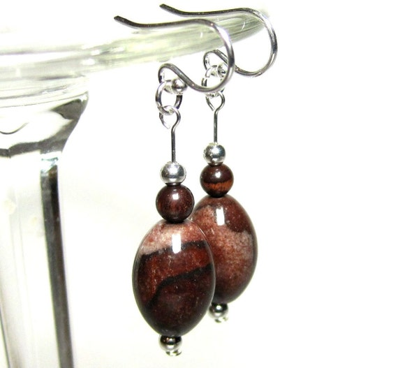 Brown Stone Earrings, Red Tiger Eye, Mahogany & Silver Earrings, Sterling Wires, Dangle Earrings, Brown Picture Agate, Rustic Earrings