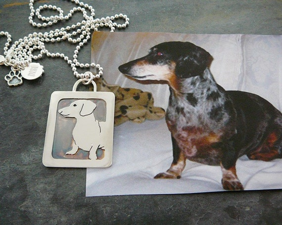 Pendant Necklace, Dog, Dachshund, Doxie, Custom personalized pet portrait jewelry .. Solid Back, Head Shot