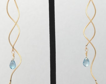 Light Blue Topaz Spiral earrings with 14K Gold Filled spiral twists and 14K Gold Filled post for Expressive Warmth
