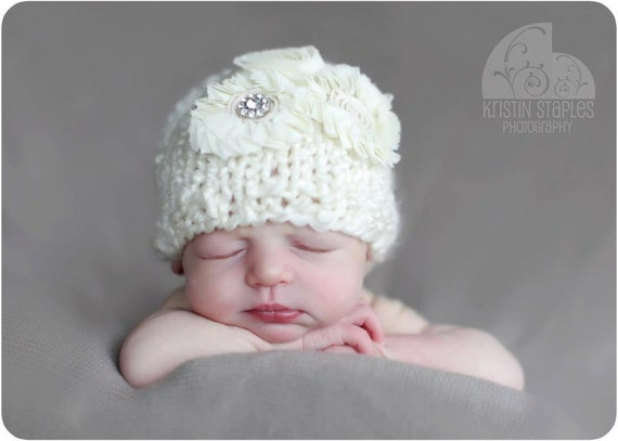 Little Knit Sparkle Hat for Baby, Beautiful Newborn Photography Prop