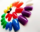 Crayon Nail Art in Rainbow Colors fingernails acrylic tips fake nails design simple made with tree nail blanks
