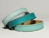 Set Of Three Shades Of  Turquoise  Leather Bracelets