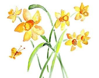 Orange, Watercolor Flowers Print, Daffodil Painting, Bedroom Decor, Bedroom Wall Art,  Flower Painting, Flower Print, cottage wall art