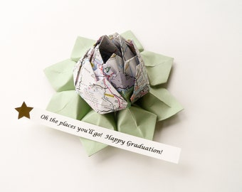 Graduation Gift - Map Lotus Flower with PERSONALIZED Message Handmade origami from Recycled Map and leaf green paper with gift box