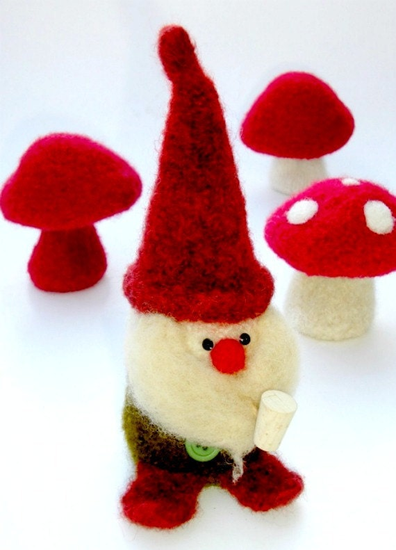 PATTERN-BOOKLET. A Knit & Felt Wool Gnome and Mushroom Pattern