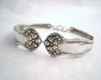 Spoon Bracelet, FREE ENGRAVING Spoon Jewelry, Silver Bracelet, Silverware Jewelry, Personalize Bracelet, Antique Spoon Bracelet ARBUTUS 1908