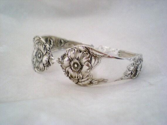 Spoon Bracelet, Eco Wedding, Antique Silverware Jewelry,Vintage Wedding, Bridesmaid Jewelry - BRIAR ROSE 1910