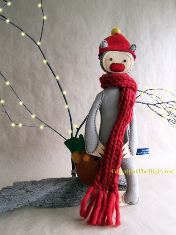 Spike the Shopping Artist Bear. Limited Edition. Snug against summer breezes with his scarf and bag of carrots