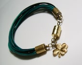 Lucky Charm Bracelet - Green and Black Leather Strands with Magnetic Clasp