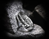 Black Diamond Ring Sterling Silver Men's and Womens Band Engagement Wedding