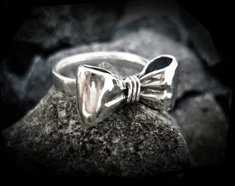 Sterling Bow Ring Tiny Silver Bows Rings for Women Unique Jewelry