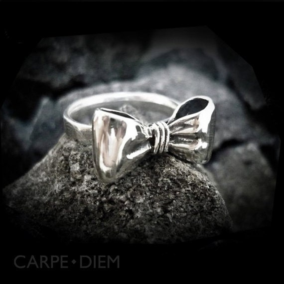 Sterling Bow Ring Tiny Silver Bows Rings for Women Unique Jewellery from Carpe Diem