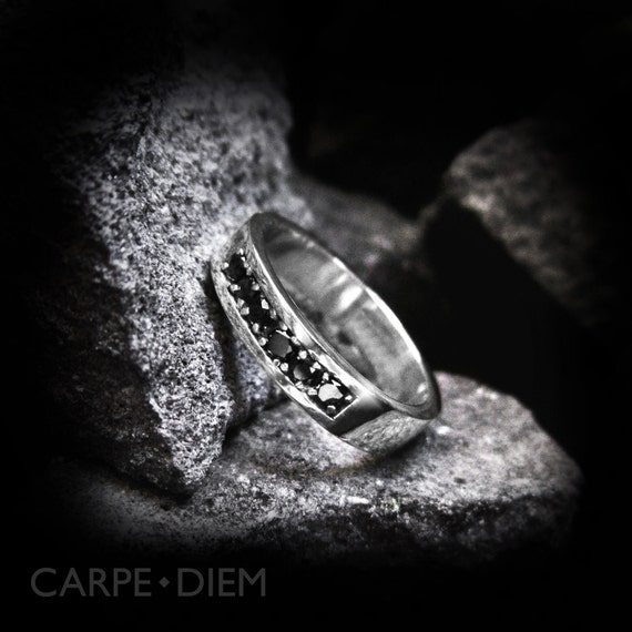 Black Diamond Ring Sterling Silver Men s and Womens Band