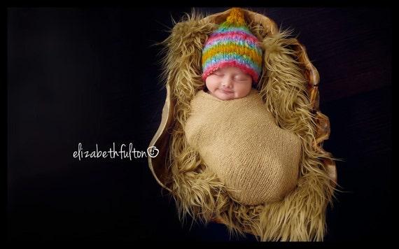 Knit Handspun Newborn Pixie Hat, Newborn Baby Photo Prop