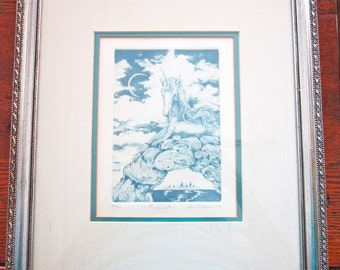 Wall Art, Unicorn Etching Signed by Artist Robert Stevens Certificate of Authenticity, Fantasy Art, Etching Mythical Woodland Creature