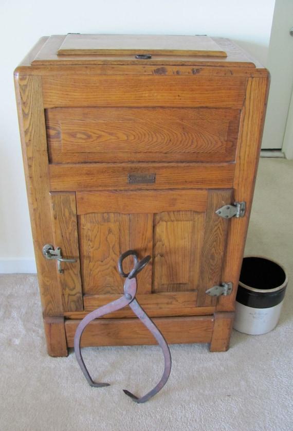 Items Similar To Vintage 1920s Oak Ice Box Refrigerator
