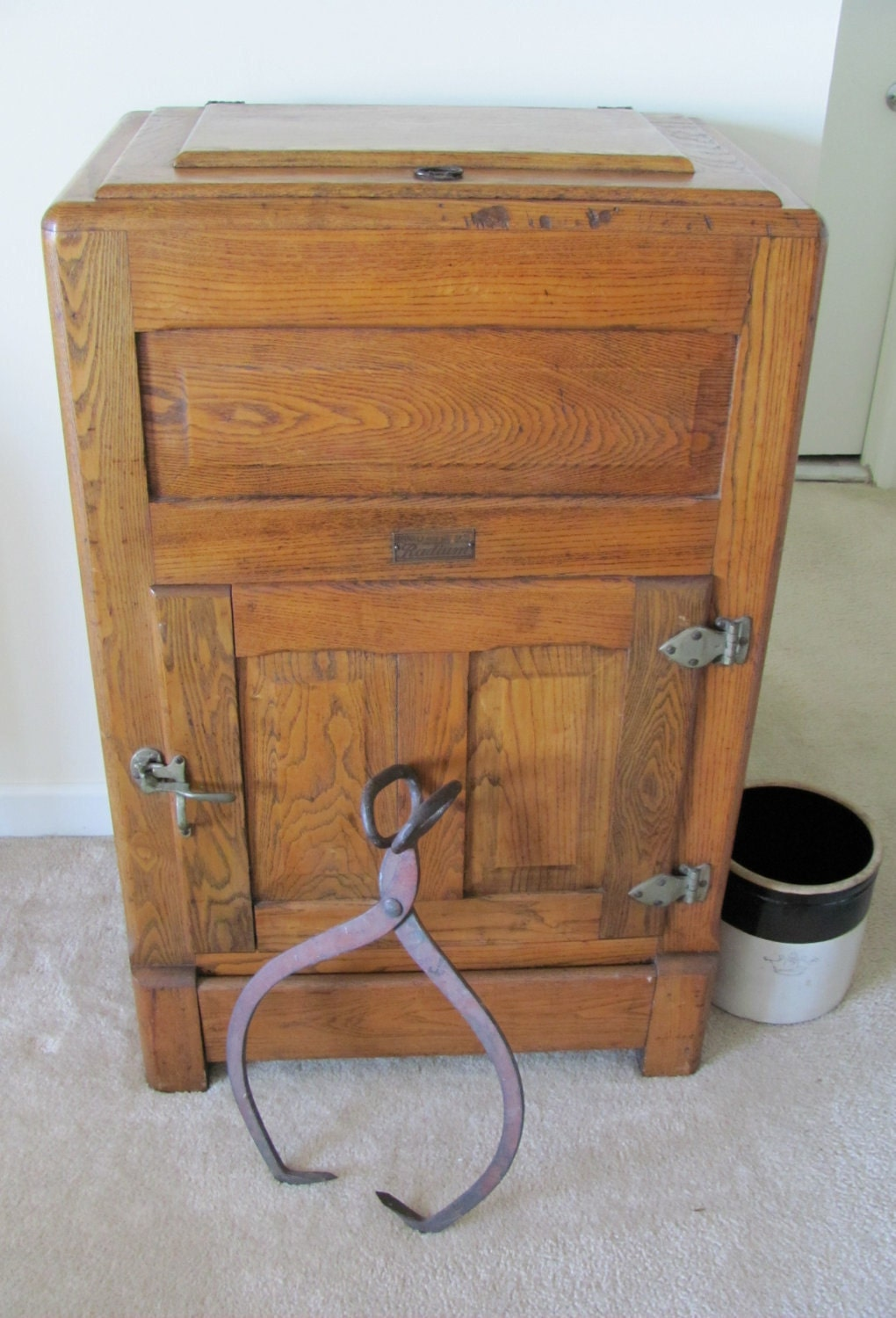 Vintage 1920s Oak Ice Box Refrigerator Storage By Gattahaveit