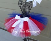 Little Lady Liberty-Red, White, and Blue, patriotic tutu with hairbow: Newborn-5T