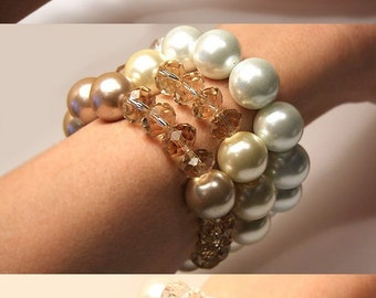 Summer Outdoors Large Crystal and Pearl Bracelet June Birthday Gift for her Wedding Bracelet Pearl Jewelry Big Chunky Bracelet Bold Bracelet
