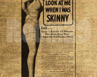 INSTANT DOWNLOAD Vintage Skinny Girl Ad - Download and Print - Image Transfer - Digital Collage Sheet by Room29 Sheet no. 492