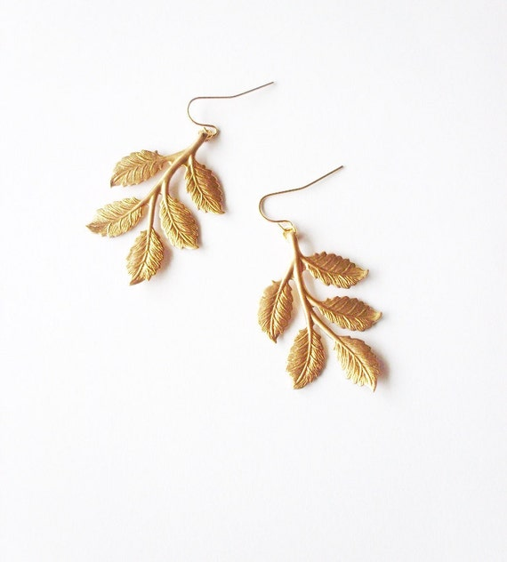Gold Leaf Earrings Bridal Jewelry Bridesmaid Charm Botanical Rustic Woodland Wedding Accessories Vintage Style Womens Gift For Her Spring