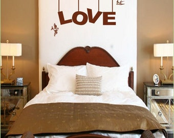 Vinyl Wall Art Decal Sticker LOVE bird Phrase Lettering 129A