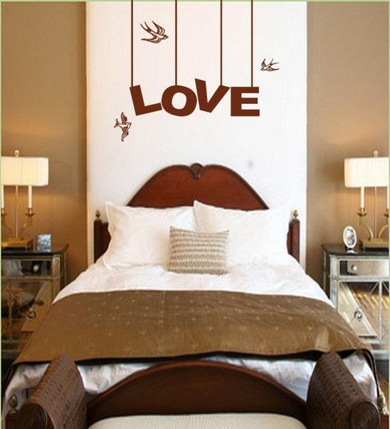 Vinyl Wall Art Decal Sticker LOVE bird Phrase Lettering 129A
